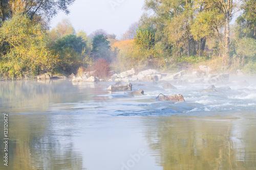 Fotobehang Noord Europa Small river in the autumn season