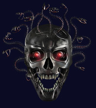 Metal Skull Of Medusa