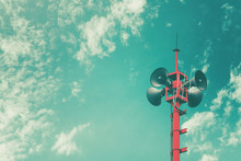 Horn Speaker For Public Relations Sign Symbol, Retro Vintage Color Effect