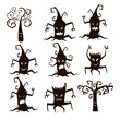 Set of silhouette trees and stumps icons