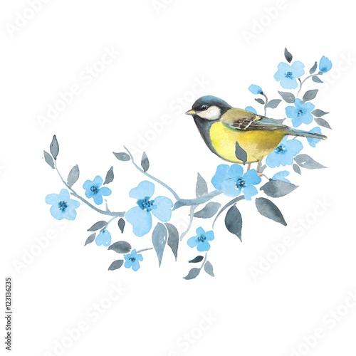 Photo  Bird on floral branch 2