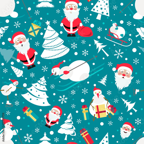Cotton fabric Christmas seamless pattern. Colour flat  design with Santa Claus
