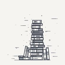 Book Pile Line Art