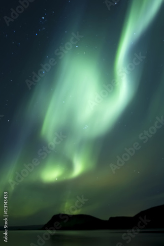 Poster Aurore polaire Aurora Borealis beautiful northern light in the clear night sky, Iceland