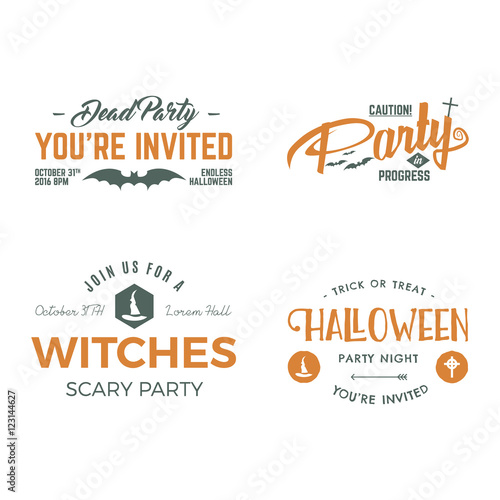 Halloween 2016 party invitation label templates with scary symbols halloween 2016 party invitation label templates with scary symbols witch hat bat and typography stopboris Choice Image