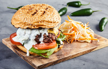 Gourmet Burger With Spinach An...