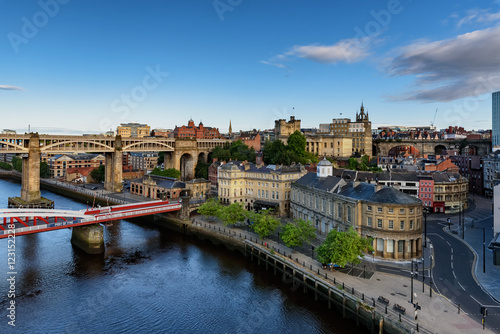 Obraz Quayside and bridges on the Tyne England UK - fototapety do salonu