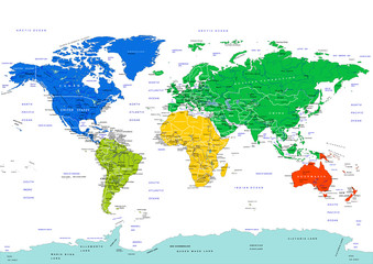 Fototapeta na wymiar World map, highly detailed vector illustration. Continents