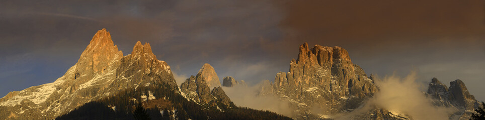 Panorama of mountain group Pale di San Martino at sunset, Dolomites mountains - Italy, Europe, UNESCO World Heritage Site