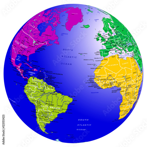 World Map Countries Continents.World Map Countries Globe Planet Earth With Colored Continents