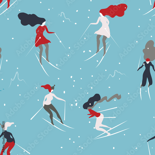 Cotton fabric Winter seamless pattern with skiers. Cartoon girls skiing. Background great for wrapping paper and wallpapers.