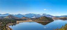 Panorama Of Valley Reservoir Lake By Mount Shasta In Northern California