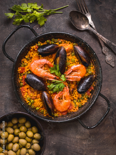 Paella on a table