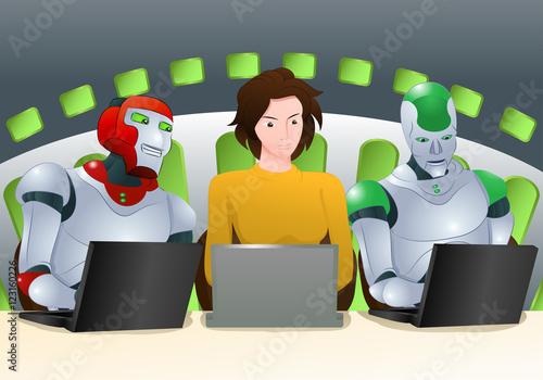 Fotografia, Obraz  human and robot class