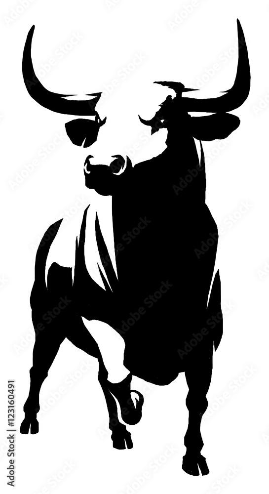 Fototapeta black and white linear paint draw bull illustration