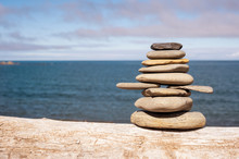 Stone Stack On Beach With Faded Retro Filter