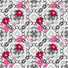 Abstract Seamless Vector Pattern With Cosmos, Verbena And Potato Flowers On Geometric Black And White Background. Can Be Used For Paper, Wallpaper, Print For Fabric, Packaging, Web Design.