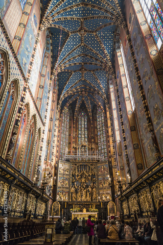 Fototapeta Interior of St Mary's church in Krakow obraz