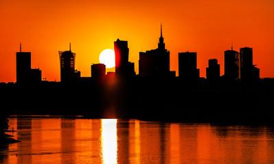 Fototapeta na wymiar Warsaw Downtown sunset