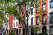 Block of Apartment Buildings on a Tree Lined Street in Manhattan New York City