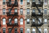 Fototapeta Nowy Jork - Old Brick Apartment Buildings in Manhattan, New York City