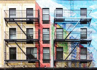FototapetaColorful buildings in the East Village of Manhattan, New York City