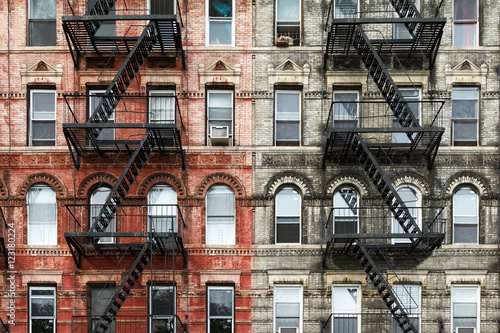 Old Brick Apartment Buildings in Manhattan, New York City