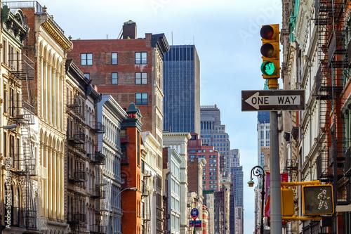 Fototapeta Manhattan Buildings Along an Avenue in SOHO, New York City