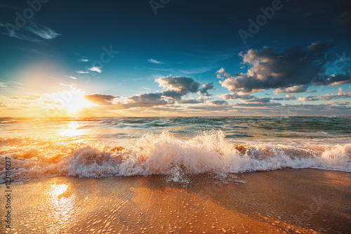 Beautiful sunrise over the sea Poster