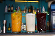 Creative exotic non-alcoholic cocktails in night club bar