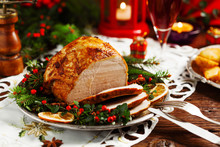 Christmas Baked Ham, Served On...