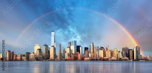 Poster New York New York City with rainbow, Downtown