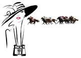 Kobieta w torze wyścigów konnych - 123188088