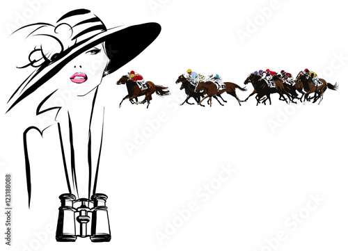 Autocollant pour porte Art Studio Woman in a horse racecourse