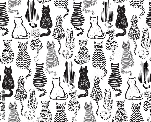 obraz PCV Vector seamless pattern with hand draw textured cats