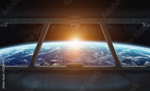 Plakat Widok planety ziemia z wewnątrz stacji kosmicznej 3D rendering el