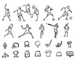 Football, Soccer and Baseballplayer Sketched Motion Doodle Set