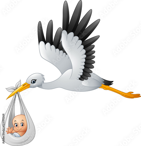 Fotografia Cartoon stork carrying baby