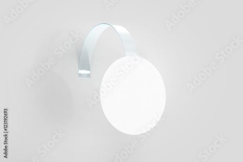 Blank white wobbler hanging on wall mockup, clipping path, 3d ...