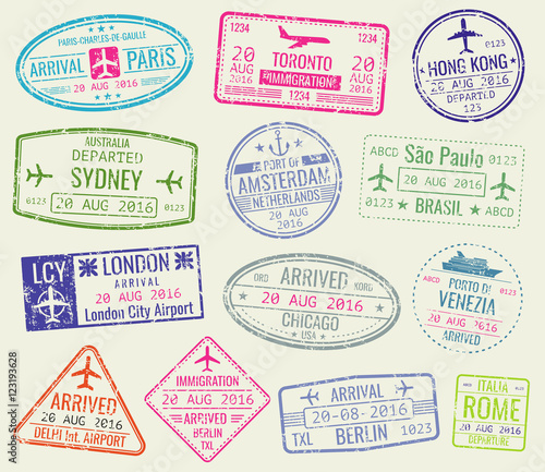 Fotografie, Tablou  International travel visa passport stamps vector set