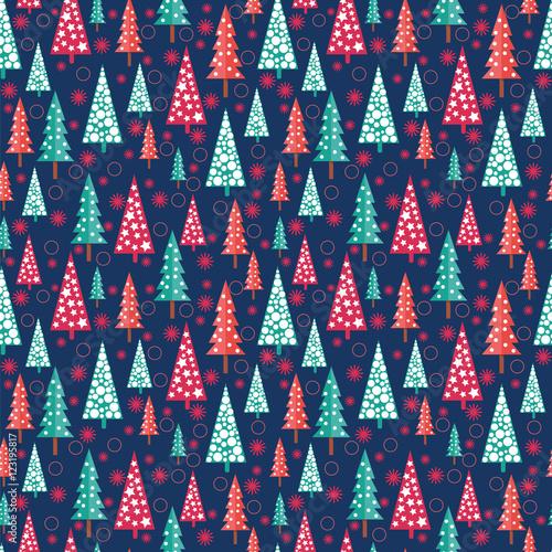 Stoffe zum Nähen Weihnachten Musterdesign - Xmas Bäume und Schneeflocken