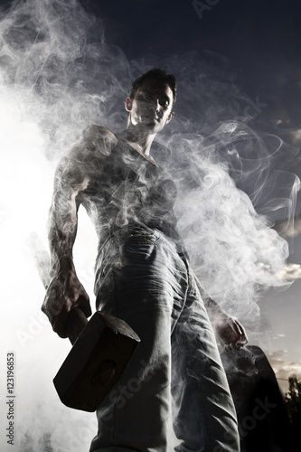 Fototapety, obrazy: handsome man and abstract smoke