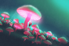 Hiker Man In The Big Mushrooms Forest At Rainy Night,illustration Painting