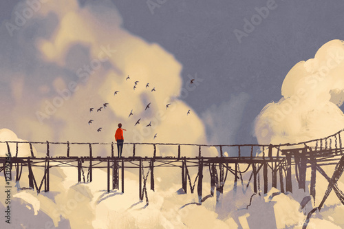 Poster Gris man standing on old bridge in clouds,illustration painting