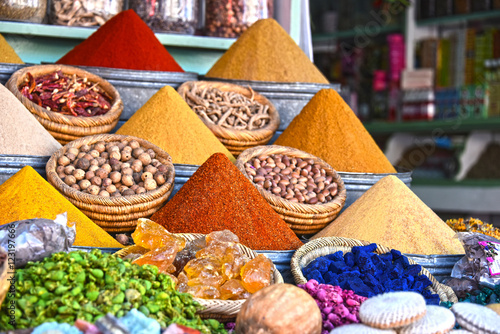 Variety of spices on the arab street market stall Wallpaper Mural