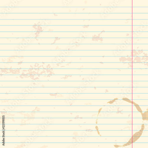 Worn Writing Book Lined Paper Background With Coffee Cup