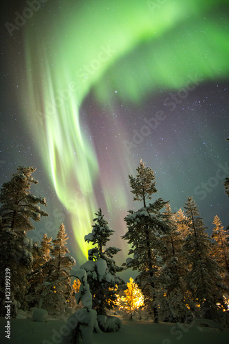 Photo  Northern Lights in Lapland, Finland.