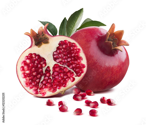 Pomegranate whole and half cut leaves isolated on white
