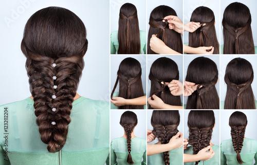 Fotografie, Obraz  festive hairstyle for long hair tutorial