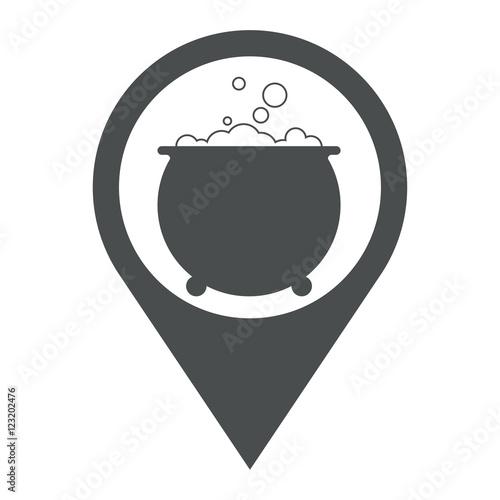 Fotografie, Obraz  Icono plano localizacion caldero bruja gris